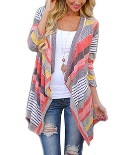 Girl Cardigan Sweater with White Black Grey Bown Red Striped