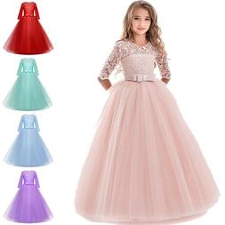 Child Girls Lace Bowknot Princess Wedding Performance Formal