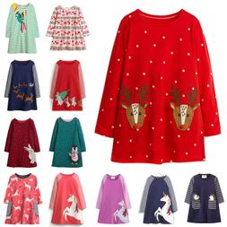 Christmas Clothes Toddler Kids Girls Long Sleeve Santa Party
