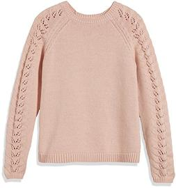 Kid Nation Girls' Crewneck Eyelet-Sleeve Knit Sweater XL Pin