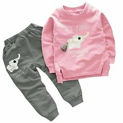 BomDeals Cute Elephant Print Toddler Baby Girls Clothes SetL