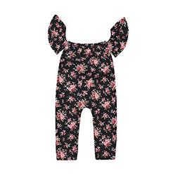 Do co-sport Baby Girls Flower Print Ruffle Sleeve Off Should
