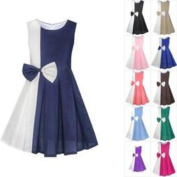 Sunny Fashion Girls Dress Color Block Contrast Bow Tie Everd