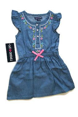 Limited Too Dress Denim Blue Jean Embroidered Flowers Baby G