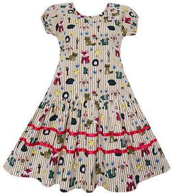 Sunny Fashion Girls Dress Fox Squirrel Bird Mushroom Print S