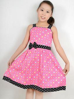 Sunny Fashion Girls Dress Pink Heart Print Party Child Cloth
