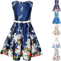 Sunny Fashion Girls Dress Navy Blue Flower Belt Vintage Part