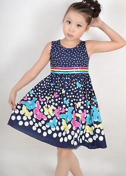 Girls Dress Navy Blue Butterfly Party School Child Size 4-5