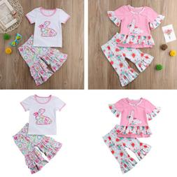 Easter Clothing Child Bunny T-shirt+ Pants Girls Clothes Set