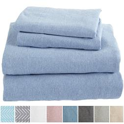 Great Bay Home Extra Soft Heather Jersey Knit  Cotton Sheet