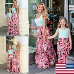 Family Matching Clothes Women Girls Mother and Daughter Flor