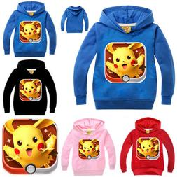 Fashion 2-7Y Kids Boys Girls Pokemon Go Pikachu Sweatshirt H