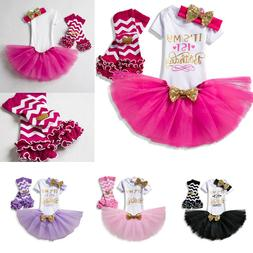 First 1st Birthday Outfits Baby Girl Gold Bow Tutu Dress Inf