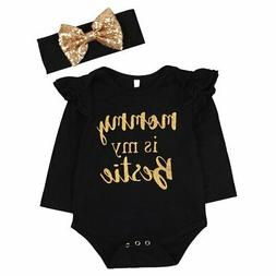 Newborn Baby Girls Clothes Floral Mommy is My bestie Bodysui