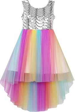 Sunny Fashion Flower Girls Dress Colorful Sequin Mesh Party