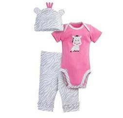 Gerber Girl 3-Piece Pink/Gray Zebra Set; Onesie, Cap & Pants