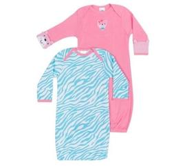 Gerber Girls 2-Pk Pink/Blue Lap Shoulder Gowns Size 0-6M BAB