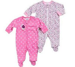 Gerber Girls 2-Pk Zip-Front Pink Flowers Sleep N' Play BABY