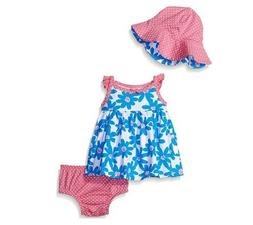 Gerber Girls 3-Piece Pink Blue Daisy Dress, Cap & Panties Se