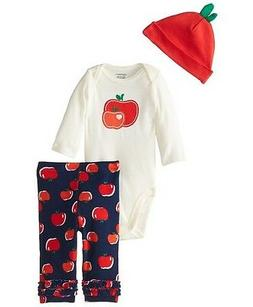 Gerber Girls 3-Piece Red Apples Set w/ Cap,Pants & Onesie; B
