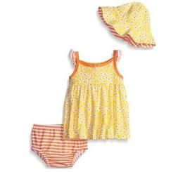 Gerber Girls' 3-Piece Yellow Flowers Dress, Cap & Panties Se