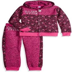 Hello Kitty Girls' All Over Printed Sweater Fleece Active Se