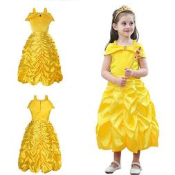 Girls Beauty and the Beast kid Princess Belle Dress UP Hallo