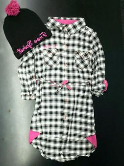 girls black and white checked dress w