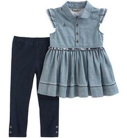 Calvin Klein Girls Blue Chambray Tunic & Legging Set Size 2T