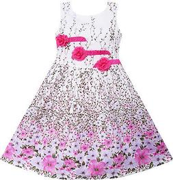 Girls Dress 3 Pink Flower Leaves School Party Children Cloth