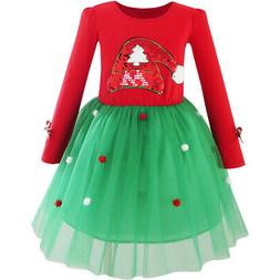Sunny Fashion Girls Dress Christmas Santa Hat Long Sleeve Pa
