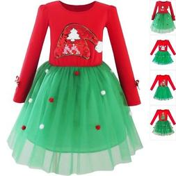 girls dress christmas santa hat long sleeve