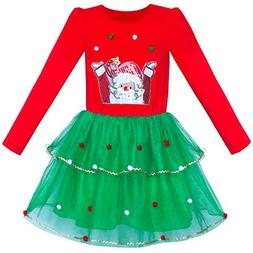 Sunny Fashion Girls Dress Christmas Santa Long Sleeve Party