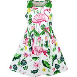 Sunny Fashion Girls Dress Flamingos Lotus Print Wave Waist B