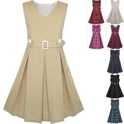 Sunny Fashion Girls Dress Khaki Button Back School Uniform P