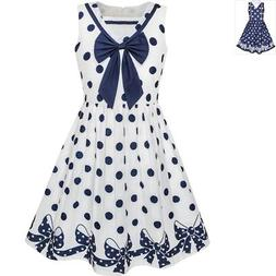 Sunny Fashion Girls Dress Navy Blue Dot Bow Tie Back School