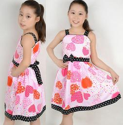 Sunny Fashion Girls Dress Pink Heart Print Princess Child Cl