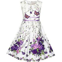 Sunny Fashion Girls Dress Purple Butterfly Flower Sundress P