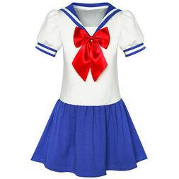 Sunny Fashion Girls Dress Sailor Moon Cosplay School Uniform