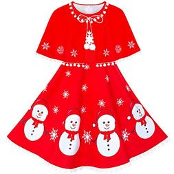 Sunny Fashion Girls Dress Snowman Red Cape Cloak Christmas N