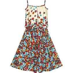 Sunny Fashion Girls Dress Tank Coffe Brown Flower Sundress S