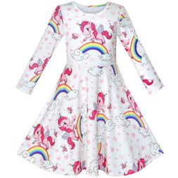 Sunny Fashion Girls Dress Unicorn Rainbow Long Sleeve Casual