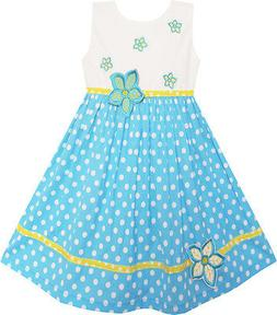 Girls Dress White Dot Blue Embroidered Flower Party Kids Clo