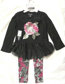 Limited Too Girls' Fashion Top and Leggings, darkest black 2