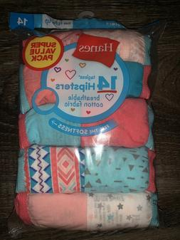 HANES ~ Girls Hipsters Tagless 14-Pair Underwear Easy Care M