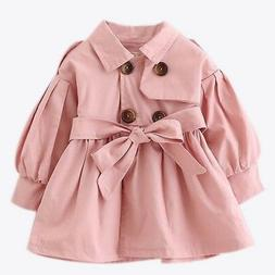 Girls Kid Jacket Trench Coat Double Breasted Windbreaker Out