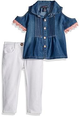 Limited Too Girls' Little Fashion Pant Set, Cold Shoulder Te
