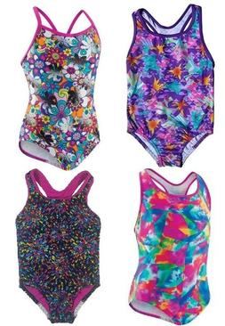 Girls Speedo Multi-Color GEO One 1 Piece Swimsuit Tank w Rac