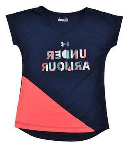 Under Armour Girls Navy & Bright Coral Dry Fit Top Size 5