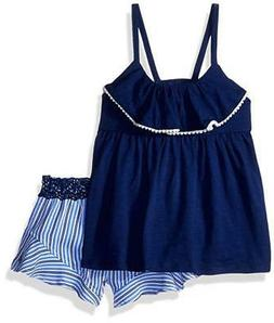 Calvin Klein Big Girls Navy Flounce Top Two-Piece Short Set